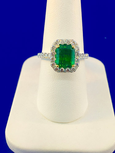 14kt. white and yellow gold natural emerald cut emerald with diamond