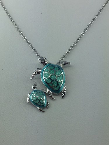 Hand Enameled Mother and baby sea turtle Necklace