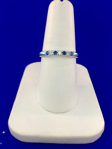 14kt. white gold blue and white diamond band
