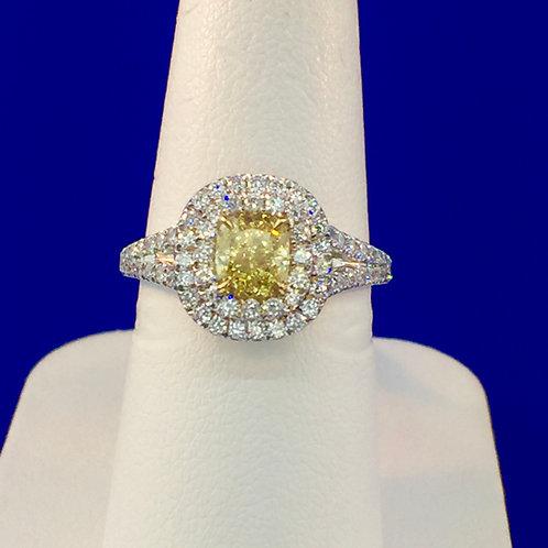 18kt two tone Fancy Intense yellow cushion diamond
