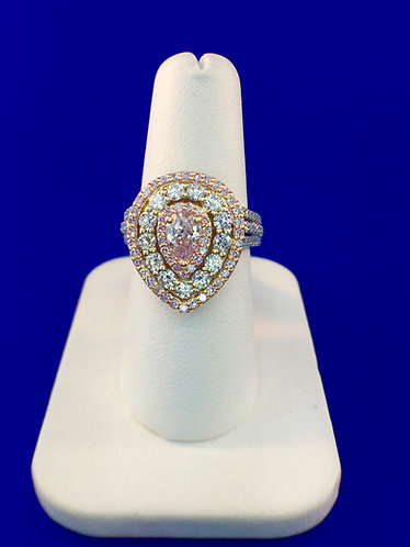18tk. white and rose gold pink diamond ring