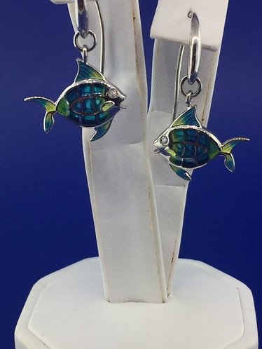 Hand Enameled sterling silver angel fish earrings with sapphire eyes.