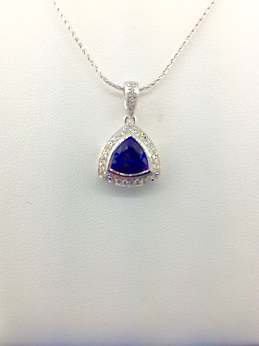 18kt. white gold natural tanzanite pendant with diamonds