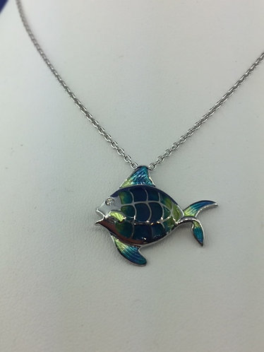 Hand enameled Sterling Silver fish necklace
