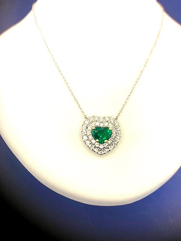 14kt. white and yellow gold natural heart shaped emerald and diamond pendant