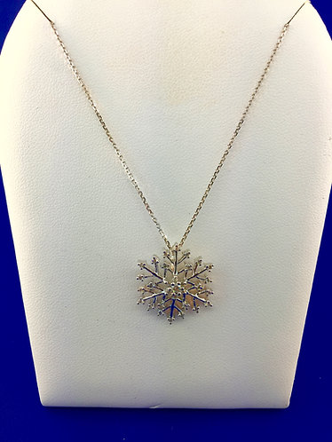 14kt. white gold diamond snowflake pendant