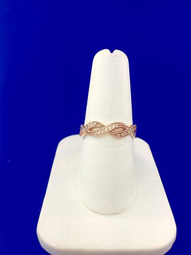 14kt. rose gold and natural diamond band