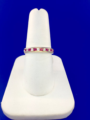 14kt. yellow gold diamond and ruby band