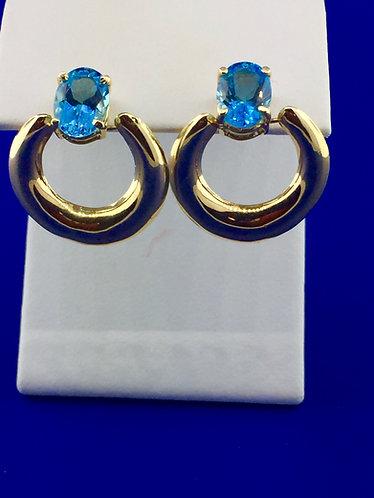 14kt. yellow gold blue topaz earrings