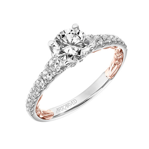 14kt. rose and white gold diamond semi mount