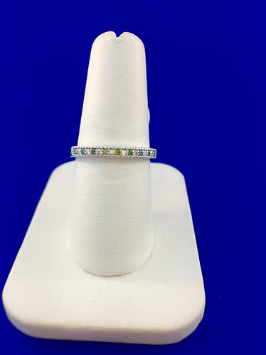 14kt. white gold green and white diamond band