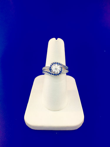 14kt. white gold diamond and sapphire semi mount