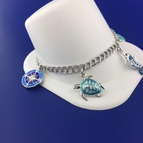 Hand enameled sea life bracelet in sterling silver