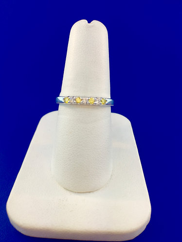 14kt. white gold yellow and white diamond band