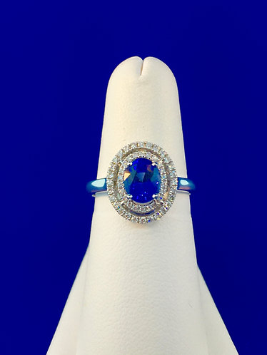 14kt. white gold natural Ceylon sapphire diamond ring