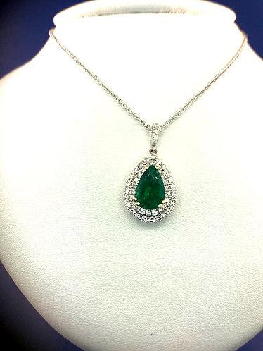 14kt. natural pear shape emerald and diamond pendant