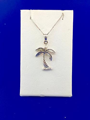14kt. white gold palm tree pendant