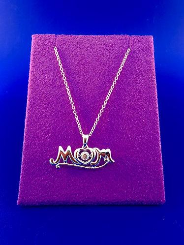 Twinkles Swarovski cut CZ sterling silver Mom pendant