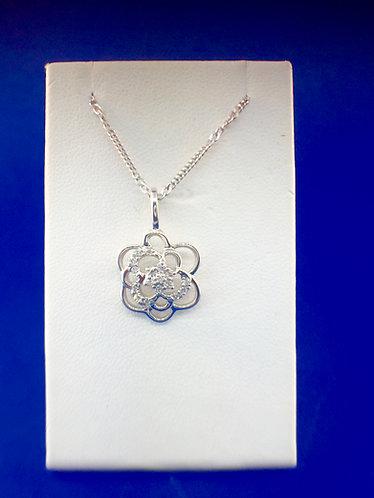 14kt. white gold diamond rose pendant