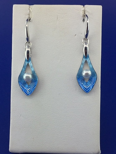 Hand Made blue enamel modern earrings with pearl center
