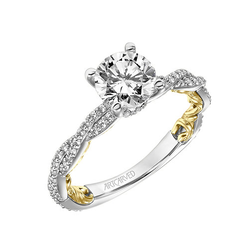 14kt. two tone diamond semi mount