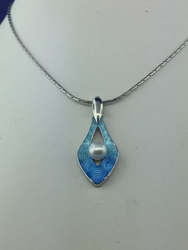 Hand enamel modern blue and pearl pendant