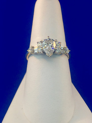14kt. white gold pear shaped diamond ring