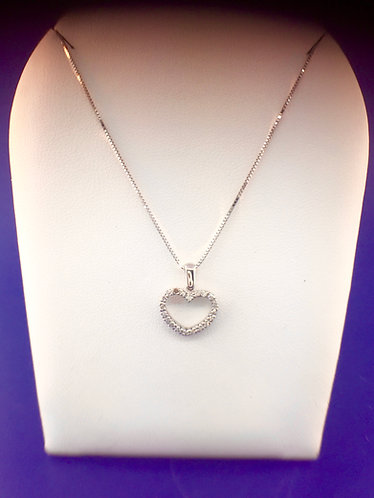 14kt. white gold diamond heart pendant