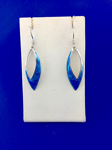Hand made enamel turquoise contemporary earrings