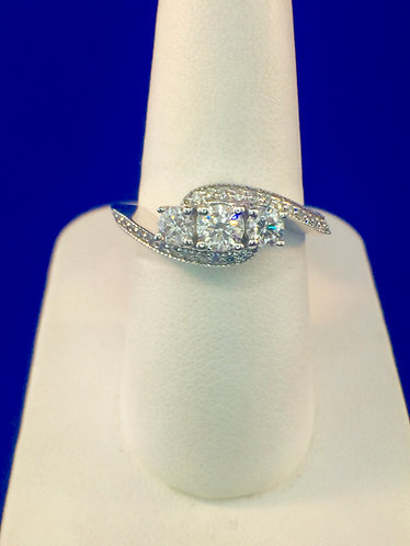 14kt. white gold 3 stone diamond engagement ring