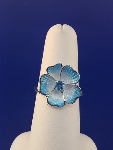 Hand Enameled Sterling Silver Flower ring with Blue Topaz
