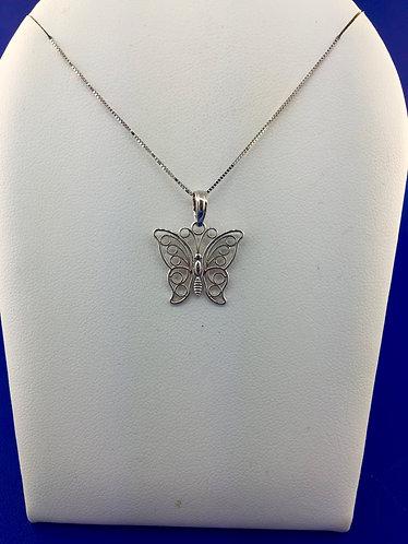 14kt. white gold butterfly pendant