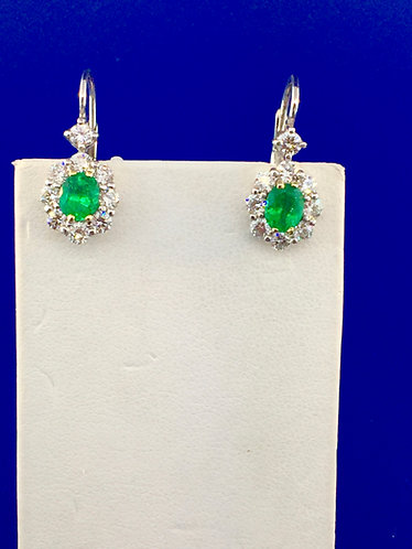 14kt. white gold natural emeralds and diamond earrings