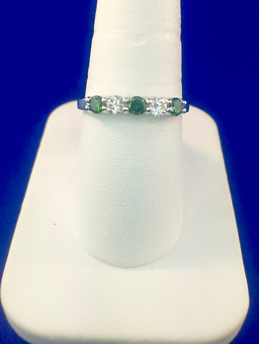 14kt. white gold with green and white diamond band