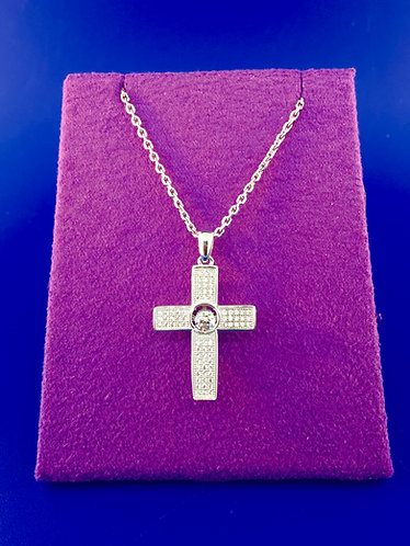 Twinkles Swarovski cut CZ and sterling silver cross pendant