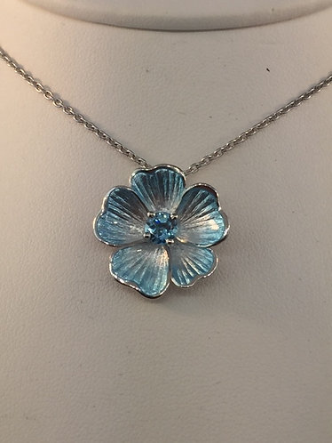 Hand Enamled Sterling Silver flower pendant with Blue Topaz Center