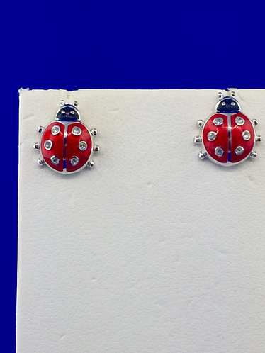 Hand made enamel lady bug earrings with sapphires