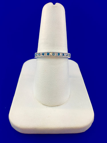 14kt. white gold blue and white diamond band