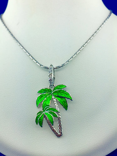 Hand made enamel palm tree necklace with sapphires