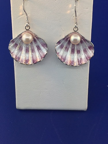 Hand enameled Sterling Silver clam shell earrings
