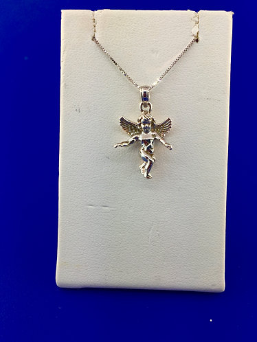 14kt. white gold guardian angel pendant