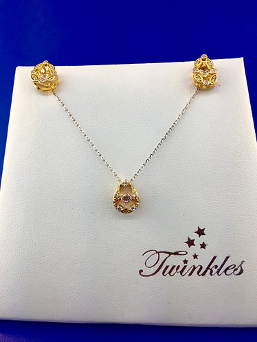 Twinkles Swarovski cut CZ and sterling silver pendant and earring set