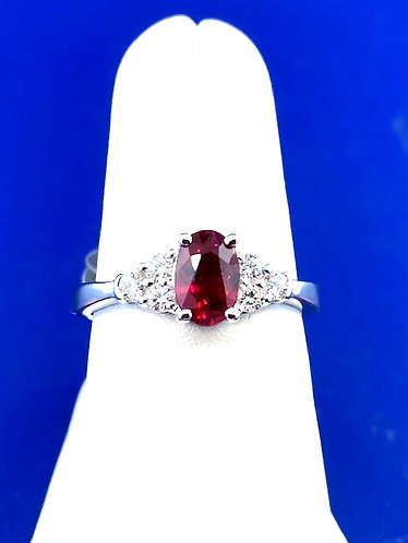 14kt. white gold ruby and diamond ring