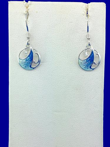 Hand made enamel wave earrings in sterling silver