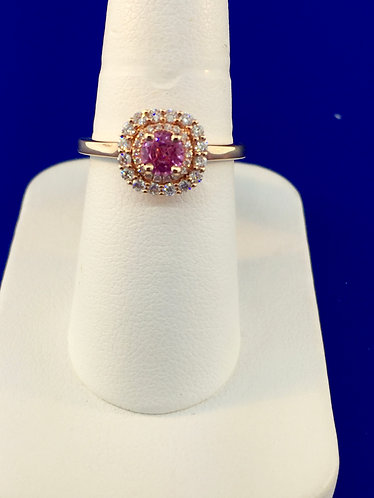 14kt. rose gold natural pink sapphire and diamond ring
