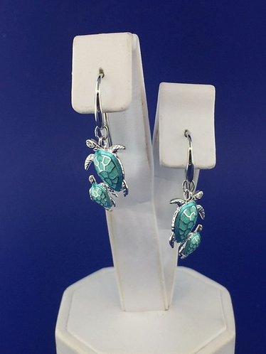 Hand Enameled Mother and baby sea turtle earrings Sterling Silver