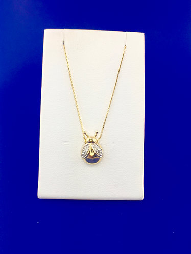 14kt. yellow gold diamond lady bug pendant