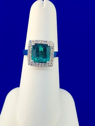 18kt. white gold natural blue green tourmaline and diamond