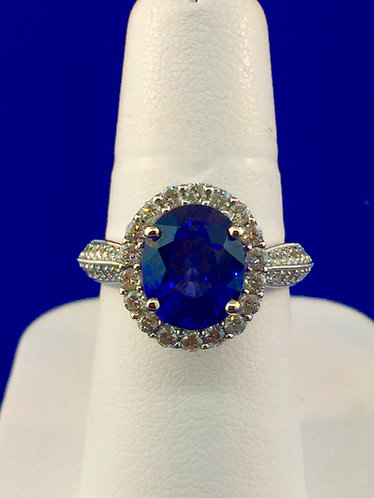 14kt. white gold natural sapphire and diamond ring