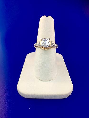 14kt. white and yellow gold diamond semi mount